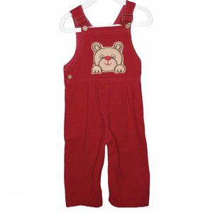 Vintage Carter's Teddy Bear Red Corduroy Overalls
